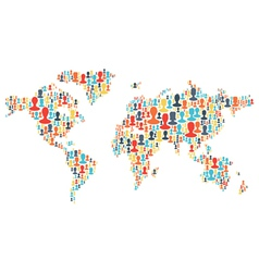 group people silhouettes planet vector image