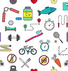 Healthy lifestyle colorful pattern icons vector image vector image