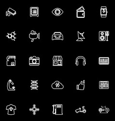 Hitechnology line icons on black background vector image vector image