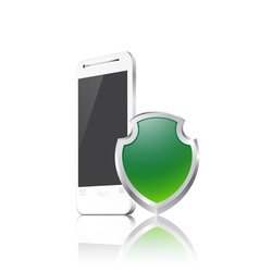 Mobile phone with shield vector image