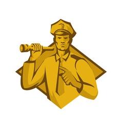 policeman police officer flashlight vector image vector image