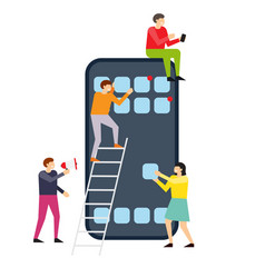 small people creating interface on smartphone vector image