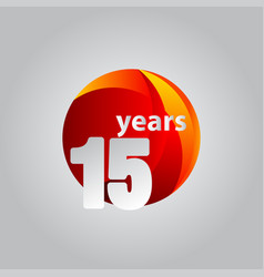 15 years anniversary red ball template design vector