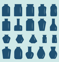 a set of glass jars different in shape and size vector image