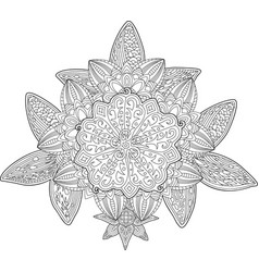 adult coloring book page with floral pattern vector image