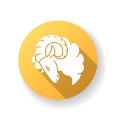 aries zodiac sign yellow flat design long shadow vector image