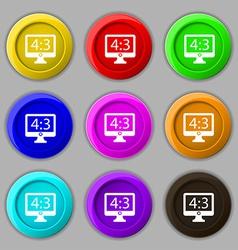 Aspect ratio 4 3 widescreen tv icon sign symbol on vector