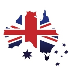 australian flag map stars emblem icon vector image