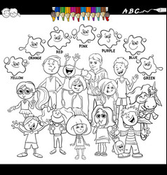 Basic colors coloring book with children vector