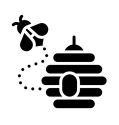 Bee flying out beehive icon thanksgiving related vector