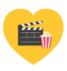 big open clapper board popcorn heart shape i love vector image