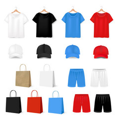 Big set t shirt and baseball cap on white vector
