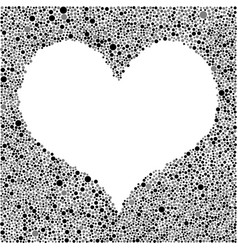 Black grey heart frame random dots vector