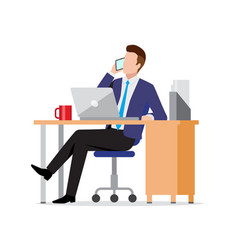 Busy businessman using phone and laptop in office vector