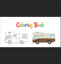 Camping car concept coloring pages for vector