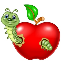 Cartoon caterpillars eat the red apple vector image