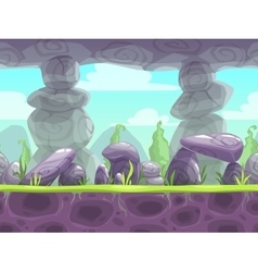 Cartoon fantasy seamless landscape vector image