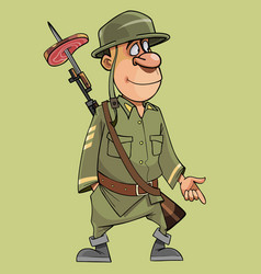 Cartoon funny soldier with a rifle with a bayonet vector