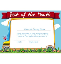 Certificate template with schoolbus background vector image