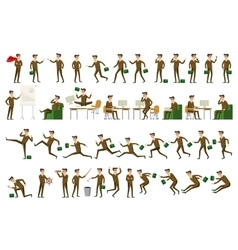 Character positions set business people vector