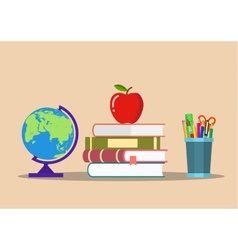 Color pencils in cup globe books apple vector