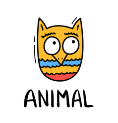 colorful doodle owl in trendy style little animal vector image