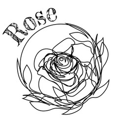 Contoured black rose tattoo or print design vector