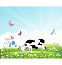Cow on a summer landscape vector image