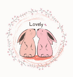 cute bunny and butterfly vector image