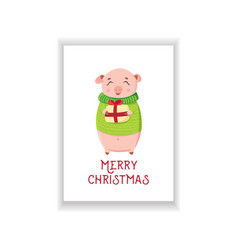 cute piggy holding wrapped gift on white vector image