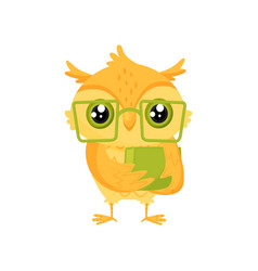 Cute wise owl bird in glasses holding book school vector