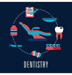 Dentistry concept with dental chair and medical vector image