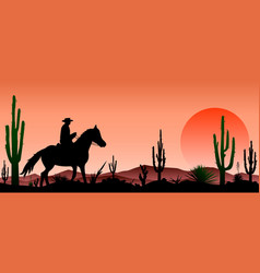 desert man riding a horse cacti sunset vector image