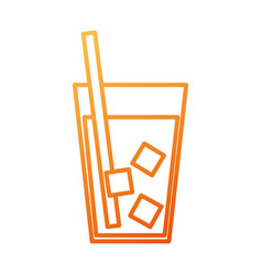 drink in glass with ice straw beverage cold vector image