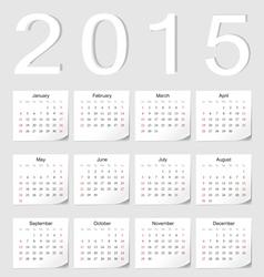 European 2015 calendar vector