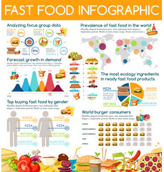 Fast food snacks and drinks infographic vector