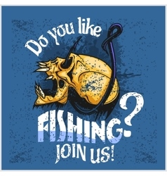 Fisherman - skull and hook Do you like fishing vector