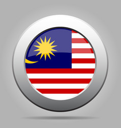 Flag of Malaysia Shiny metal gray round button vector