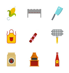 Frying meat icons set flat style vector
