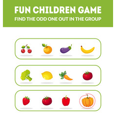 Fun children game find odd one out in the vector