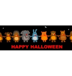 Funny halloween animals vector
