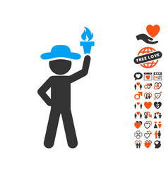 gentleman with freedom torch icon with valentine vector image