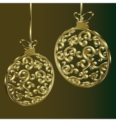 Golden Christmas ball vector