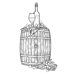 Graphic glass of wine bottle and grapes on the vector