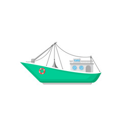 Green fishing boat with trawl net and lifebuoy vector