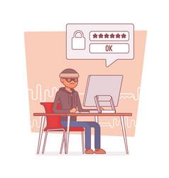 Hacker cracking computer password vector