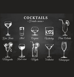 Hand sketched bottles and glasses of alcoholic vector