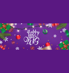happy new year 2019 banner xmas elements on a vector image