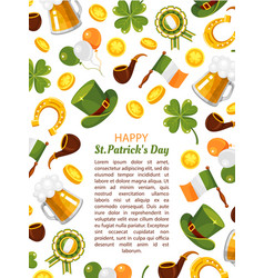 happy saint patrick day flat poster vector image