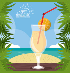 Happy summer holidays poster cocktail over table vector